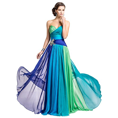 TS Couture Prom Formal Evening Military Ball Dress - Color Gradient A-line Strapless Sweetheart Floor-length Chiffon with Crystal,6 - Line Floor
