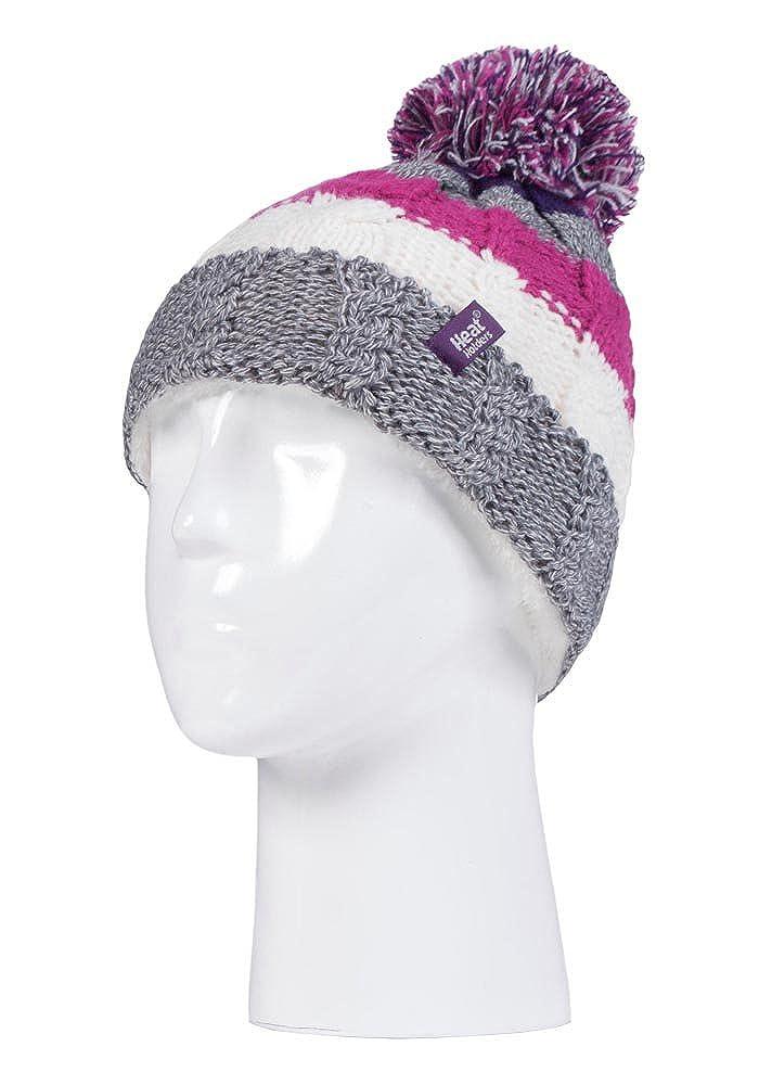Heat Holders Ensemble bonnet et gants dhiver avec pompon et pompon pour filles