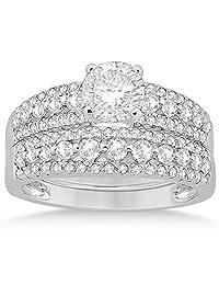 Three-Row Prong-Set Diamond Bridal Set in Palladium (0.80ct) (No center stone included)