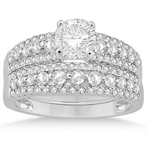 Petite Three Row Prong-Set Diamond Bridal Set with Round-Cut Side Stones in Platinum (0.80ct)