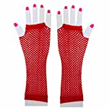 Red Fishnet Gloves - Long Fingerless Fishnet Costume 1980s Glove by Funny Party Hats