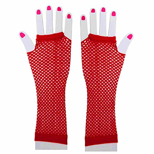 Fishnet Gloves - Long Fishnet Gloves - 80s Accessories - Mesh Fingerless Gloves by Funny Party Hats