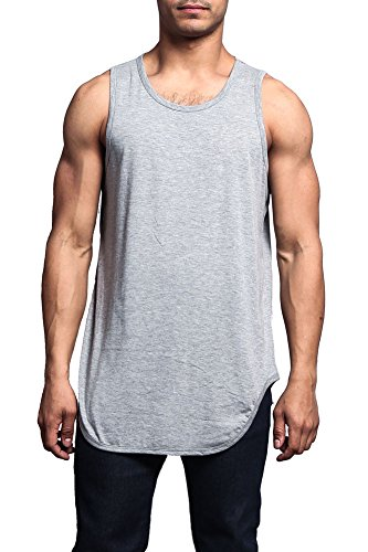 Victorious Solid Color Long Length Curved Hem Tank Top TT47 - Grey - Small - A1D - A8D