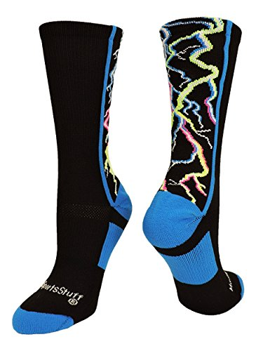 MadSportsStuff Lightning Bolt Electric Storm Crew Socks (Multi-Neon/Black, Small) by MadSportsStuff