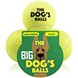 The Big Dog's Balls, 3 Large Yellow Tennis Balls, Premium, Strong Dog Toy Ball for Dog Fetch & Play. Large Dogs Balls, Too Big for Chuckit Launchers, the King Kong of Dog Balls