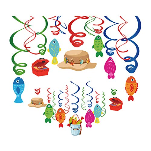 Kristin Paradise 30Ct Gone Fishing Hanging Swirl Decorations, O-Fish-Ally Party Supplies, Little Fisherman Birthday Theme, The Big One Kids Decor for First 1st Boy Girl Baby Shower, O Fish Ally Favors (The Old Man And The Sea Themes)