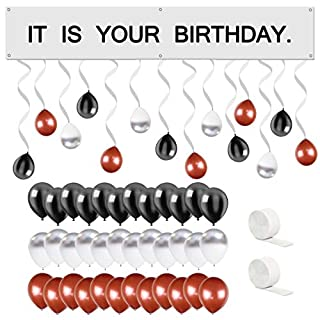 UrbanRed The Office Birthday Decorations Kit | It is Your Birthday Banner The Office Kit | The Office Party Supplies | Its Your Birthday | Dunder Mifflin Decorations (Silver)