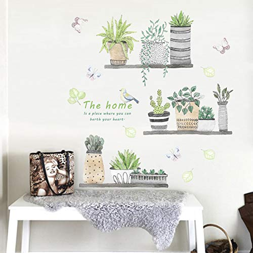 Green Plant Wall Decal Bonsai Flower Butterfly Cactus Wall Stickers DIY Mural Art Decoration for Living Room Bedroom… 3