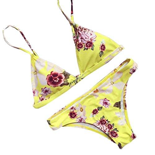 NewKelly 1 Set Sexy Yellow Women Gather Floral Bikini Set Swimwear Push-Up Padded Bra