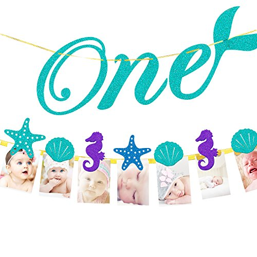 Little Princess 1st Birthday Party Decorations - Monthly Milestone Photo Banner for Newborn to 12 Months, 1-12 Month Ocean Theme Numbering Photo Holder. ()