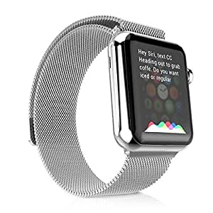 Apple Watch Band 38mm, Fully Magnetic Closure Clasp Mesh Loop Milanese Stainless Steel iWatch Band - Silver
