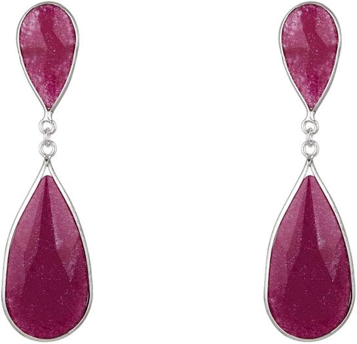 Córdoba Jewels | Pendientes en Plata de Ley 925 con piedra semipreciosa diseño Princess Ágata Frambuesa Silver