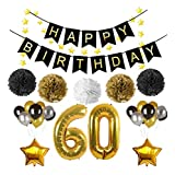 """60th Birthday Party Decorations,Happy Birthday Banner,Large 32 inch Gold Number Balloons""""60"""",3 color balloon,Five-pointed Star Garland and Gold Balloons,Perfect for 60 Years Old Party Supplies"""