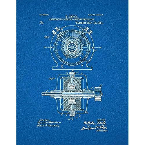 Blueprint posters amazon tesla alternating electric current generator patent print art poster blueprint 85 x 11 malvernweather Image collections