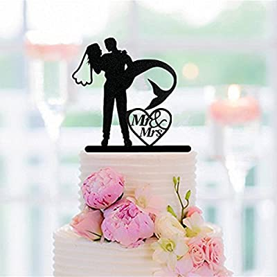 Black Acrylic Cake Topper Mermaid Bride And Groom Wedding Cake Topper Mr Mrs Cake Topper For: Toys & Games