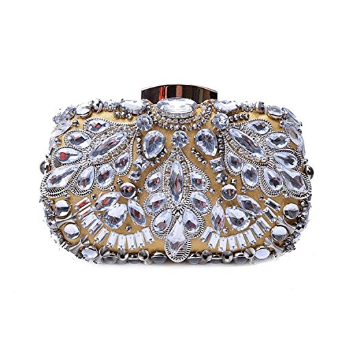 Gold Crystal Three ON Diamond Bag Case Handbag Hard Black Evening Heavy Pouch Clutches Purse Dimensional Beads Rising Bridal Party qUwxpx5