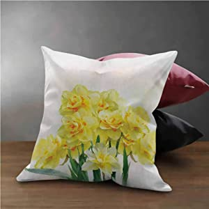 """HouseLook Daffodil Square Pillow Case Digital Watercolors Paint of Daffodils Bouquet Called Jonquils in England Lily Throw Pillow Case Cushion Cover Yellow Green (20""""x20"""")"""