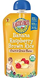 Earth's Best Organic Stage 2, Banana, Raspberry & Brown Rice, 4.2 Ounce Pouch (Pack of 12) (Packaging May Vary)