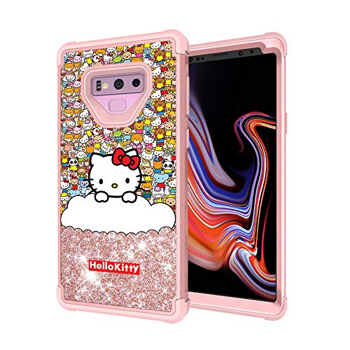 GSPSTORE for Samsung Galaxy Note 9 Case Hello Kitty Cartoon Glitter Sparkle Bling Full-Body Heavy Duty Armor Defender Shockproof for Samsung Galaxy Note 9 - Bling Hello Case Kitty