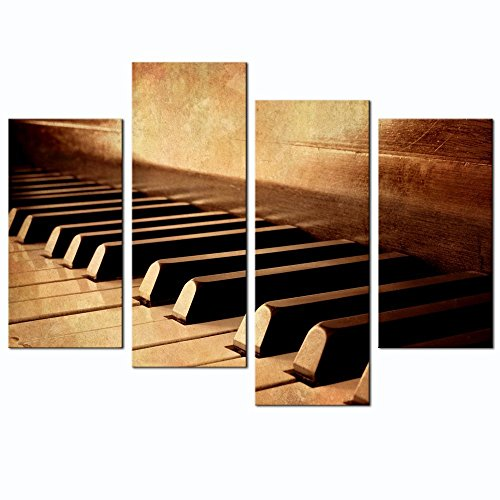 Live Art Decor - 4 Panels Wall Art Sepia Tone Piano Keys Pictures Print on Canvas Instrument Abstract Canvas Painting Giclee Print with Wood Frame,Modern Home (Sepia Photo Art)