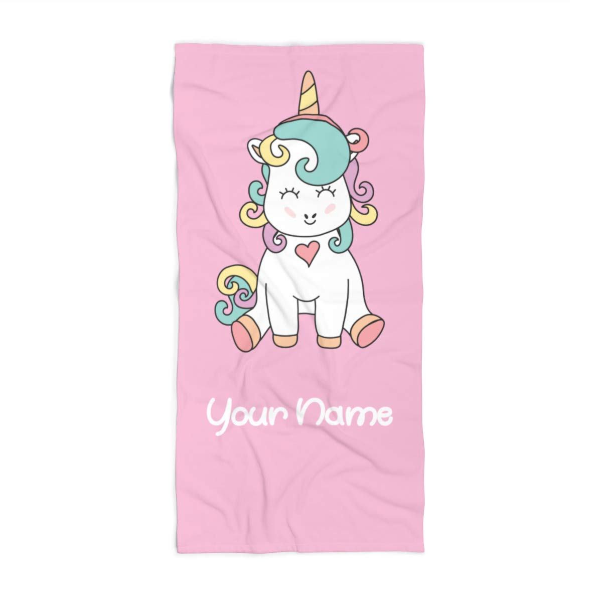 Extra Large Personalized Unicorn Towel for Kids - Oversized Thick Cotton Custom Travel Beach Pool and Bath Towels for Adults Toddler Baby Boys Girls Elsa (Beach Towel 35''x70'')