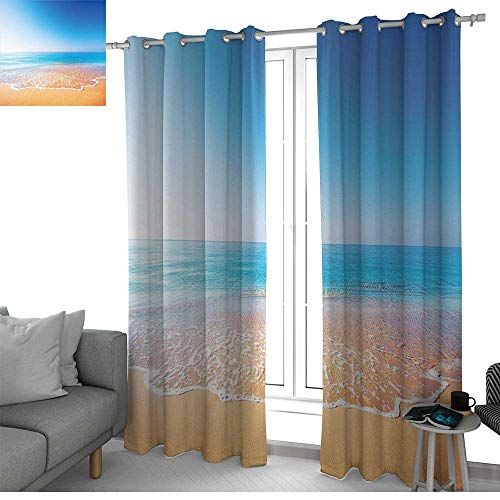 Drapes Pocket Rod Lodge (NUOMANAN Kitchen Curtains Ocean,Golden Beach and Tropical Sea Scenery with Endless Sky Summer Sun and Peace Print,Cream Blue,Rod Pocket Drapes Thermal Insulated Panels Home décor 84