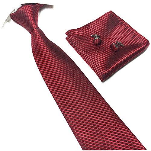 Patterned Red Tie (Men Modern Burgundy Red Extra Long Woven Silk Work Dress Tie Fashion Fun Necktie)