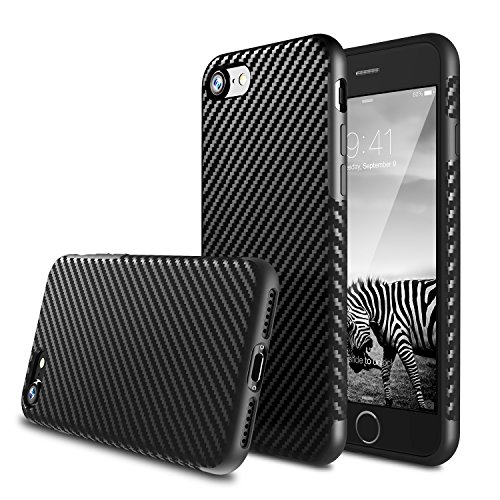 Rubberized Carbon Fiber (iPhone 7 Plus Case, BASSTOP Carbon Fiber Hybrid Rubberized Super-Slim Anti-Slip Grip Full Body Protector Cover Premium Flexible Soft TPU Case or Apple iPhone 7 Plus (Black 5.5