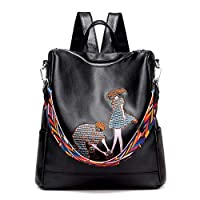 Hale Tomlinson Girl Backpack Embroidery Anti-theft Travel Leisure College Students Soft School Bag,Black1