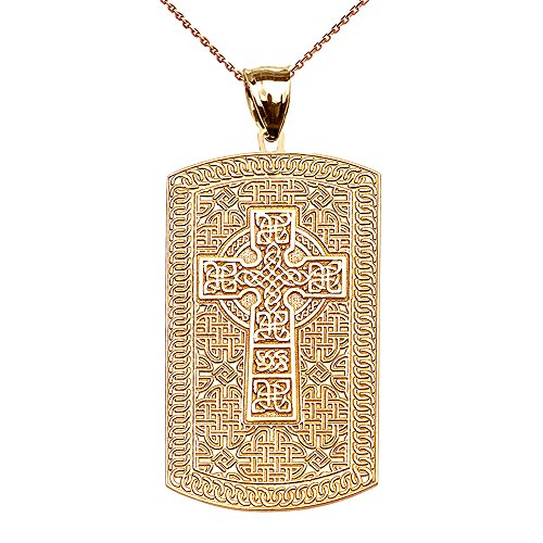 14k Engraveable Cross Pendant (Celtic Cross Trinity Knot 14k Yellow Gold Engraveable Dog Tag Pendant Necklace 16