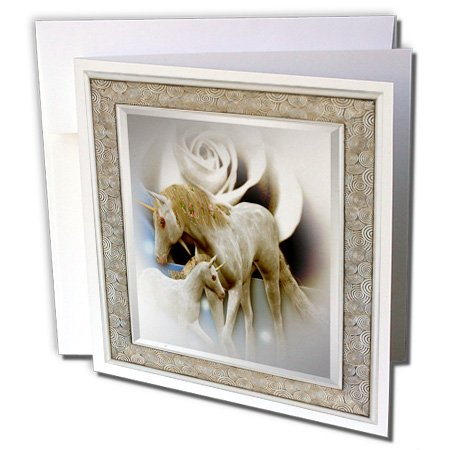 Price comparison product image 3dRose Pretty Frame Art with White Rose and White Unicorn and Baby, Greeting Cards, Set of 6 (gc_167118_1)