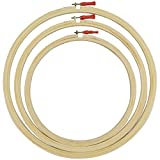 AsianHobbyCrafts Wooden Embroidery Hoop Ring Frame : Size : 10', 12' & 14' Inches : Set of 3pcs: for Cross Stitch Craft, Sewing Tool, Embroidery.