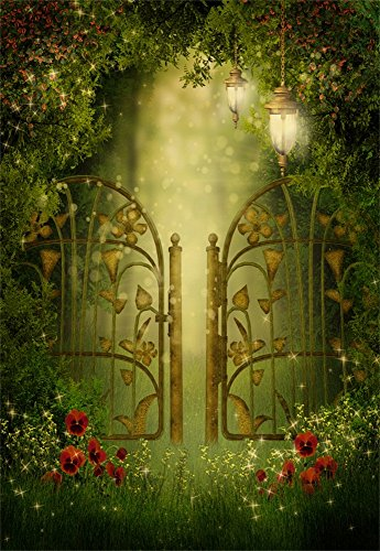 Laeacco Fantasy Forest Backdrop 3x5FT Photography Background Iron Hollow-out Gate Wonderland Fairytale Magical Forest Dreamlike Star Flowers Background 1(W)x1.5(H)m Backdrop Video Photo Studio Props
