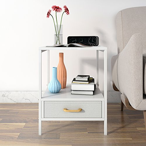 Lifewit 2-tier Side Table End Table, Nightstand with Drawer, Coffee Table for Bedroom Living Room, Modern Collection, Square, - Frame Eyeglass Dimensions