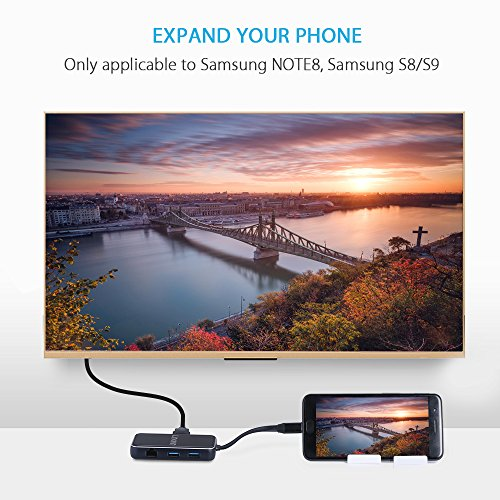 USB C Hub, Type C Adapter,Thunderbolt 3 to 4K HDMI Adapter,60W Charging Docking Station with USB 3.0, VGA Port, Enthernet Port for New MacBook Pro,Chromebook,Galaxy S8,Note 8, Projector (Black) by LINKWIN (Image #2)