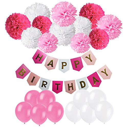 Happy Birthday Banner, Cocodeko Birthday Bunting Paper Garland with 12pcs Tissue Paper Pom Poms and 20pcs Balloons for Birthday Party Decorations - Pink, Rose Red and White