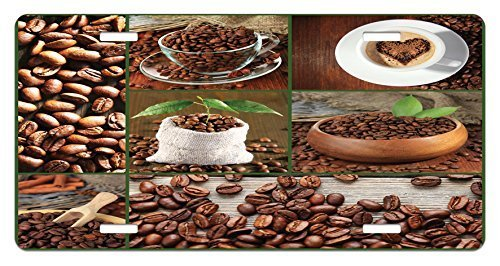 zaeshe3536658 Brown License Plate, Collage of Coffee Beans in Cups and Bags with Green Leaves on Wooden Table Photo, High Gloss Aluminum Novelty Plate, 6 X 12 Inches, Brown Green