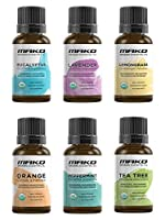Mako Top 6 USDA Certified Organic 100% Pure and Therapeutic Grade Essential Oils Gift Set. Includes: Lavender, Peppermint, Eucalyptus, Tea Tree, Lemongrass, and Orange - 15ml / .5 oz each