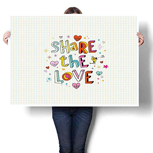 Anyangeight Love Canvas Wall Art Share The Love Cheerful Childish Quote Smiling Hearts Singing Bird Notebook Page Style Landscape Canvas Multicolor 32