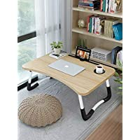 Bed Laptop Table Tray LapDesk eNotebook Stand with ipad Holder Cup Slot Adjustable Anti Slip Legs Foldable for Indoor Outdoor Camping Study Eating Reading -Wood color