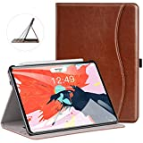 Ztotop Case for iPad Pro 11 Inch 2018 Release - Premium Leather Slim Multiple Viewing Angles Folding Stand Folio Cover with Auto Wake Sleep (Support 2nd Gen Apple Pencil Wireless Charging) - Brown