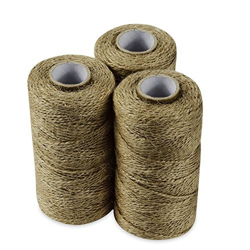 (QuWei 3x 300 Feet Natural Jute Twine Best Arts Crafts Gift Twine Christmas Twine Industrial Packing Materials Durable String for Gardening Applications (3PC))