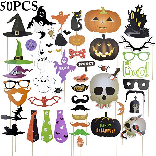 Funpa Halloween Photo Booth Props Trick Treat Funny Party Favor Halloween Decorations (50 PCS) for $<!--$7.98-->