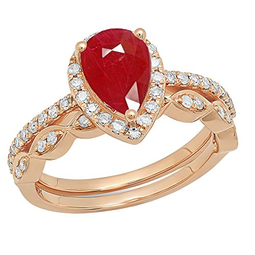 Dazzlingrock Collection 14K 9X6 MM Pear Ruby & Round Diamond Ladies Halo Engagement Ring Set, Rose Gold, Size 4.5
