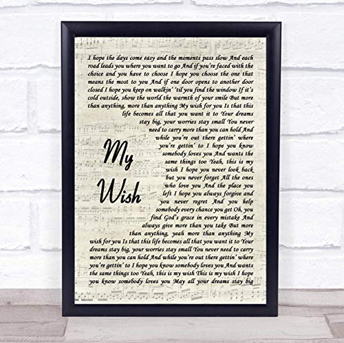 "128 FUNHUA Rascal Flatts My Wish Song Lyric Vintage Script Print 8"" x6"" Inches from 128 FUNHUA"