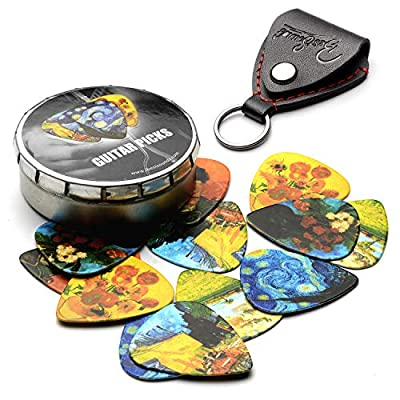 Van Gogh 12 Pack Guitar Picks with Leather Picks Holder - Celluloid Medium Picks Unique Gifts For Guitarist