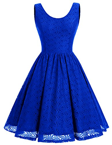 ALAGIRLS Women Floral Lace Bridesmaid Party Dress Short Prom Dress V Back Royalblue L