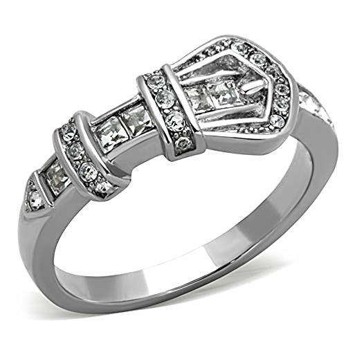 FlameReflection Stainless Steel CZ Belt Buckle Shape Engagement Promise Ring Women Girl Size 5-10 SPJ