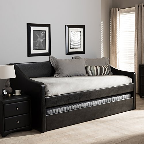 Black Daybed Trundle - Baxton Studio Contemporary Daybed with Guest Trundle in Black
