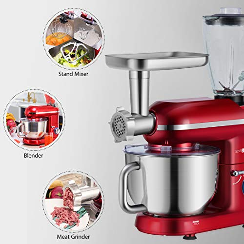 VIVOHOME Electric 650W Multi-functional 6-Speed Tilt-Head Stand Mixer Meat Grinder Juice Blender with 6 Quart Stainless Steel Bowl Red ETL Listed by VIVOHOME (Image #3)